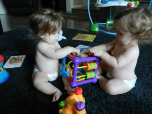twins playing 8 months