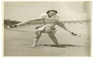"""Valerie Hays from the cast of """"Over she goes"""" being leapfrogged, 1937 / by Sam Hood"""